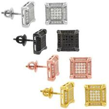 Sterling Silver CZ Micro Pave Prong Set Square Screw Back Stud Earrings