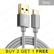 1M 2M Braided USB Type C Cable Gold Plated USB-C 3.1 Fast Charger Data Lead Grey