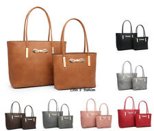 New 2IN1 Womens Vintage Style Faux Leather Tote Hobo Handbag Large Shopper Bag