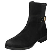 Tommy Hilfiger Th Buckle Bootie Stretch Womens Black Suede Ankle Boots