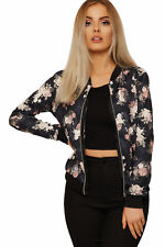 Ladies Black Bomber Floral Rose Jacket Long Sleeves Rose Print Zip Coat Top 8-22