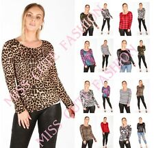 WOMENS LADIES CASUAL CAMOU SKULL LEOPARD PRINT LONG SLEEVE T SHIRT TOP SIZE 8-22