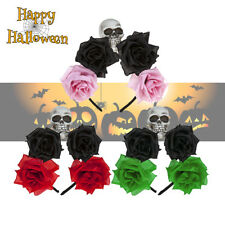 Ladies Day of The Dead Roses and Skull Glitter Headband Halloween Fancy Dress