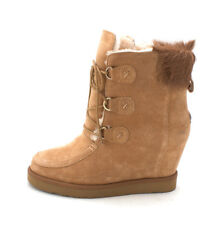 Luxe Co. Womens DUDLEY Faux Fur Round Toe Ankle Cold Weather Boots