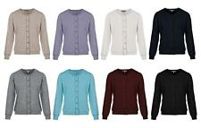 New Women Ladies Fine Knit Button Cardigan Round Neck &  Long Sleeve Tops