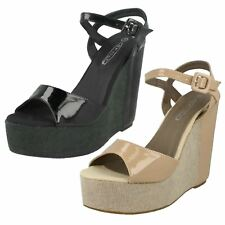 Ladies Spot On - High Platform Wedge Sandal With Ankle Strap