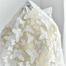 "Butterfly Wedding Tulle Lace Fabric 51"" Wide Embroidery Bridal Lace Fabric 0.5 M"