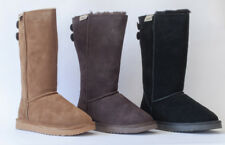 Snow Paw Womens Suede & Australian Sheepskin Pull On Tall Winter Button Boots