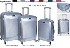 Suitcase Hardshell Lightweight ABS Travel Luggage Silver 4 Wheels DURABLE S-M-L