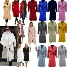New Ladies Long Duster Italian Coat French Belted Trench Waterfall Jacket 8-16