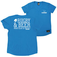 FB Womens Rugby Tee Rugby And Beer Novelty V Neck Dry Fit Performance T-Shirt