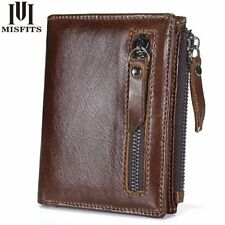 Genuine Leather Men Wallet Zipper Short Coin Purse Elegant Business Design