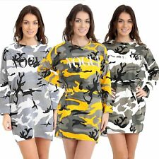Womens Ladies Baggy VOGUE Slogan Camouflage Dress Oversize Camouflage Shirt Top
