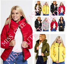 WOMENS LADIES PADDED QUILTED PUFFER JACKET WINTER FUR COLLAR COAT PLUS SIZE 8-22