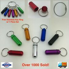 Waterproof Pill Box Keychain Aluminum Medicine Case Bottle Drug Holder Container