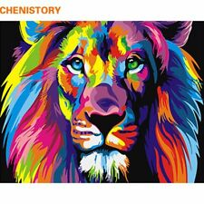Frameless Colorful Lion Animals Abstract Painting DIY Oil Painting Wall Decor