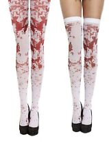 Halloween New White Bloody Blood Stained Tights Fancy Dress Zombie Nurse Costume