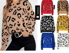 New Long Sleeve Ladies Leopard Print Jumper Knitted Pullover Sweater Top 8-22