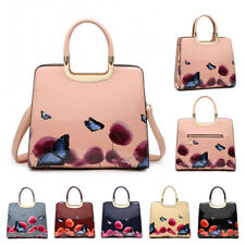 New Womens Large Patent Leather Poppy Floral Butterfly Tote Handbag Shoulder Bag