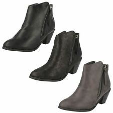 Ladies Spot On - Cowboy Style Ankle Boots With Zip Detail