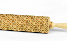 Engraved HEART PATTERN rolling pin wooden embossing design rolling pin