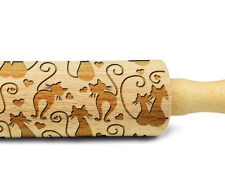 Engraved LOVE CATS rolling pin wooden embossing design rolling pin