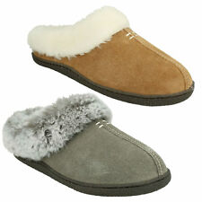 HOME CLASSIC LADIES CLARKS SLIP ON WARM FUR LINED SUEDE MULES SLIPPERS SIZE
