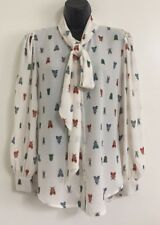 Ex Ladies Wasp Print Pussy Bow Button Up Casual Work Blouse Shirt Top Size 8-18