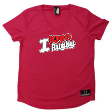 Rugby T-Shirt Funny Womens V Neck Sports Performance Tee - I Love Rugby Stencil