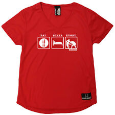 Rugby T-Shirt Funny Womens V Neck Sports Performance Tee - Eat Sleep Rugby