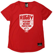 Rugby T-Shirt Funny Womens V Neck Sports Performance Tee - Rugby Pleasure Withou