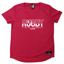Rugby T-Shirt Funny Womens V Neck Sports Performance Tee - Rugby Is My Cardio