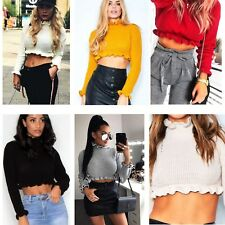 Ladies Cropped Knitted Jumper Womens Ruffle Frill Fashion Hem Long Sleeve Top