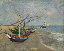 Fishing Boats on the Beach Vincent van Gogh-Poster Canvas Art print A4 A3 A2 A1