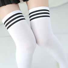 Sexy Medias Fashion Striped Knee Socks Women Cotton Thigh High Over The Knee