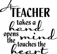 A teacher takes a hand vinyl sticker saying for wall tile gift classroom inspire