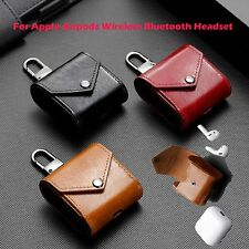 Leather Headset Case Bag Cover Hook for Apple Airpods Wireless Bluetooth Headset