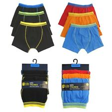 3 Pack Boys Cotton Poly Cotton Boxer Shorts Underwear Plain Piping Trunks
