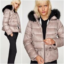ZARA DUSTY PINK QUILTED LIGHTWEIGHT JACKET WITH DETACHABLE HOOD SIZE M