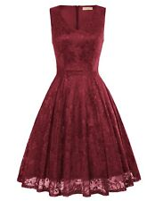 Sexy Women's Sleeveless V-Neck Bridesmaid Evening Party Flared A-Line Lace Dress