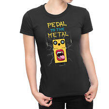 Womens PEDAL TO THE METAL Funny Face Novelty Drum Guitar Music T-Shirt