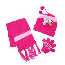 New CTM Kids' Hello Kitty Hat Scarf and Gloves on a String Winter Set