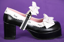 S-09 Black White Black Gothic Lolita Pumps Platform Shoes Shoes Maid Cosplay