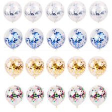 5pcs Clear Confetti Filled Latex Round Balloons Birthday Party Wedding Decor 12""