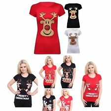 WOMENS LADIES SHORT SLEEVE CHRISTMAS RUDOLPH STRETCHY LADIES T-SHIRT PLUS SIZE