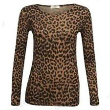 UK STOCK Womens round Neck Ladies Leopard Print Long Sleeve T Shirt Tops Blouse