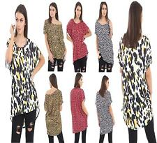 New Women Short Sleeve Baggy Leopard Print Casual Mini Dress T shirt Top UK 8-26