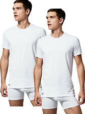 LACOSTE DOUBLE PACK 2 PACK T-SHIRTS SLIM FIT COTTON WHITE CREW NECK - RRP £29.99