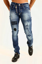 Men's Designer Painted Spot Stretch Slim Fit Patch Denim Jean's Fashion Trouser