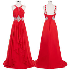 Evening Dress Prom Formal Pageant Red Chiffon Party Long Beaded Sleeveless Gown